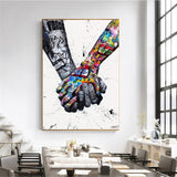 Lovers Holding Hands Graffiti Art Decor