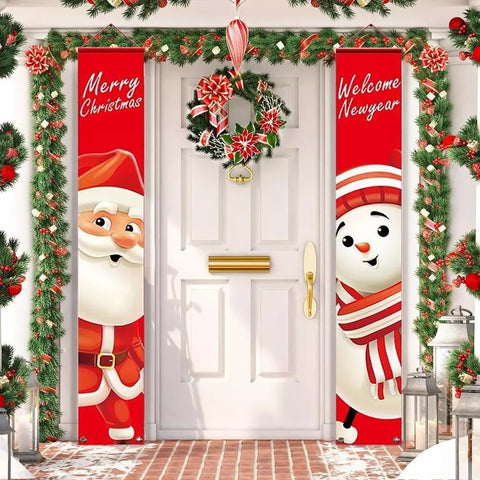 Santa Claus Banner Christmas Decoration For Home Merry Christmas