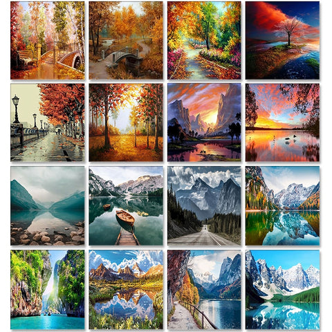 Scenery Acrylic Paint By Numbers Set Frame Decor Art