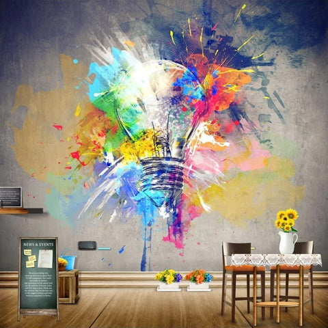 Graffiti Watercolor Painting Light Bulb Mural Wall Art