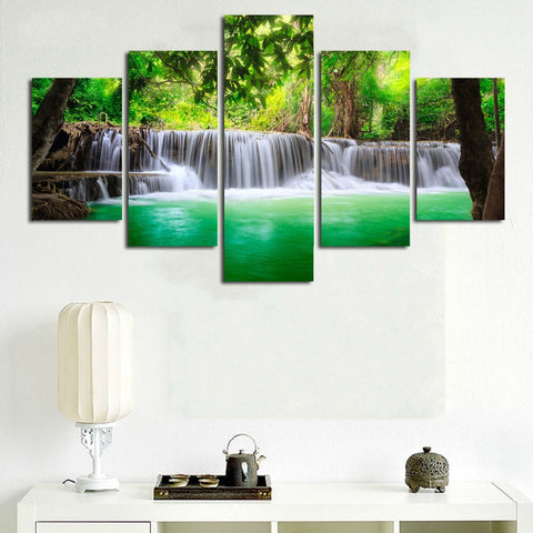 5 Panel Waterfall Living Room Art Unframed