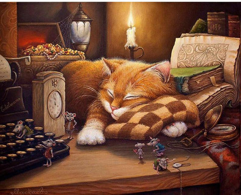 Sleeping Cat Painting By Numbers For Gift 40x50cm
