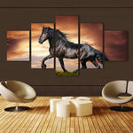 5 Panels Black stallion Horse Canvas Art