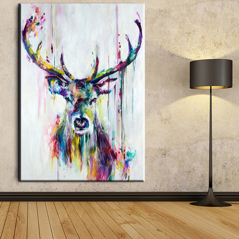 Watercolor Deer Head Posters Print