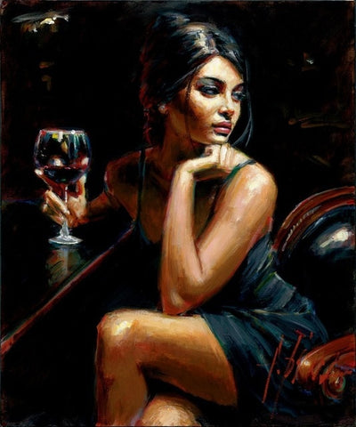 Hot Sexy Woman with Wine Painting By Numbers on Canvas DIY