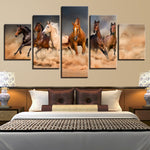 5 Pieces Galloping Horses Poster HD
