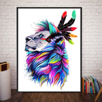 Rainbow Indian Lions Colorful Animals