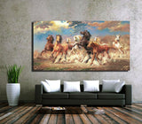 8 Running Horse Animal Canvas Art On Cotton