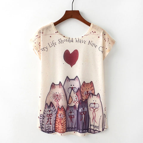Cute Cat Summer Novelty Women T Shirt