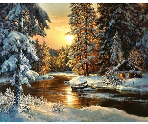 Village Snow DIY Painting By Numbers Canvas  40x50cm