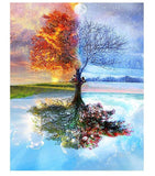 Frameless Four Seasons Tree Landscape DIY Painting By Numbers