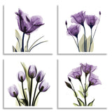 4 Panel Elegant Tulip Purple Flower