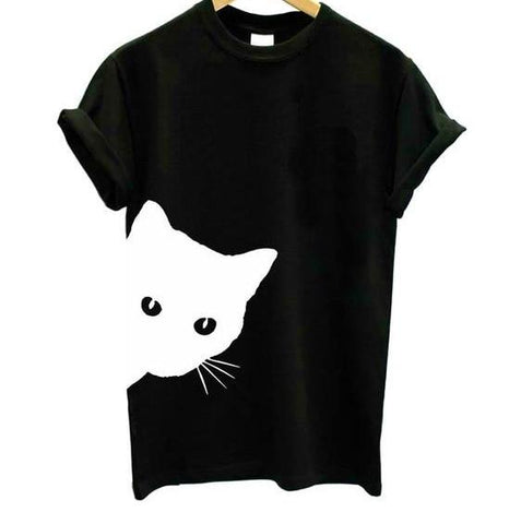 cat looking out side Print Women tshirt Cotton