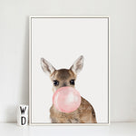 Bubble Chewing Gum Giraffe Zebra Animal in Canvas Art