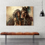 Retro Artwork Home Decor Sexy Indian Girls and Steed Horse