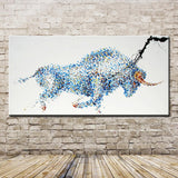 Pop Art Gift 100% Hand-painted Strong Bull Oil Painting