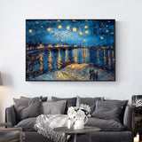 Van Gogh Starry Night Replica On The Wall Impressionist Starry Night Canvas