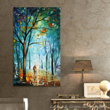 100% Handpainted Blue City Tree Street Modern Abstract Oil Paintings