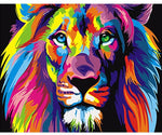 Frameless Colorful Lion Animals Abstract Painting  By Numbers