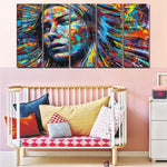 Woman Face Girl Poster Canvas 5pc