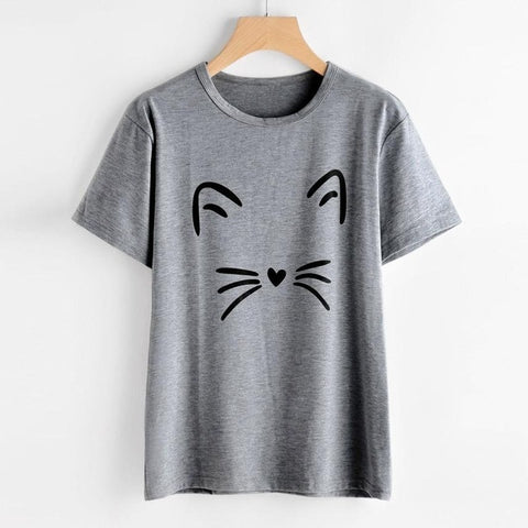 2019 Hot Sale Women's Fashion Summer Cat Printing