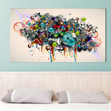 Abstract Graffiti Canvas Art Blossomed Flowers