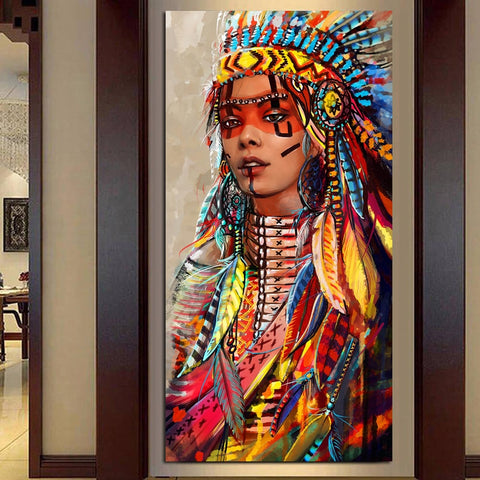 Wall Art Native American Indian Girl