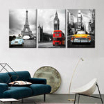 3 Pieces Paris Tower New York City Car Landscape