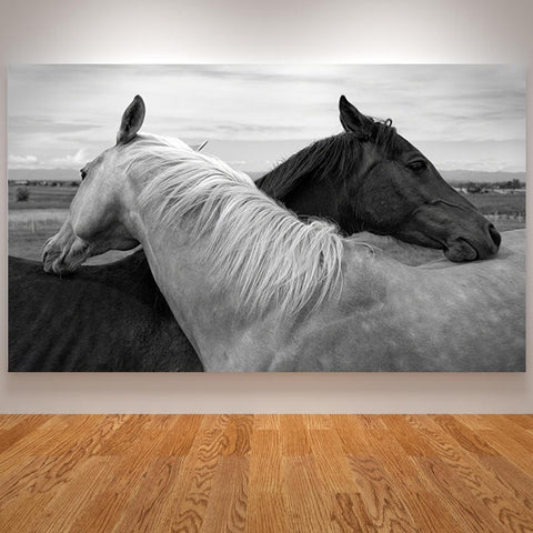 Canvas Painting Horse Poster Black and White Animals Love