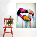 Sexy Colorful Mouth Pop Art Canvas