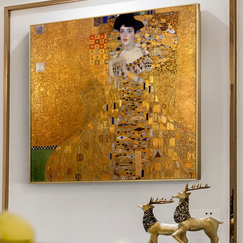 Gustav Klimt Kiss Paintings Replica On The Wall Portrait Of Adele Bloch Golden Classical Wall Art