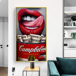 Red Lip Woman eat Money Print Wall