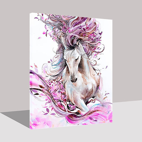 Hand Paint Abstract Horse Pink Flower on Oil Home Decor