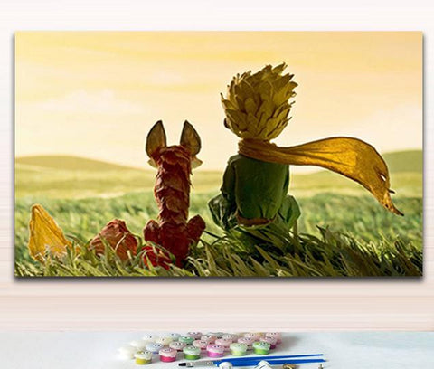 Princekin and fox little Prince star rose coloring  by numbers with kits for wall decor
