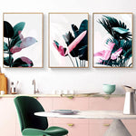 Pink Posters And Prints Leaf Canvas