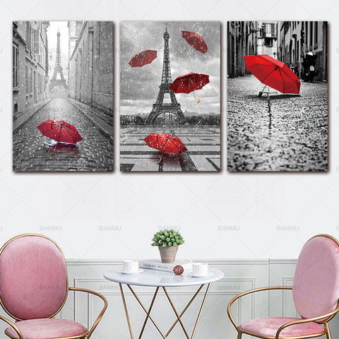 Home Black and White Eiffel Tower with Red umbrella on Paris Street