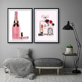 Fashion Pink Bottles Poster Vogue Wall