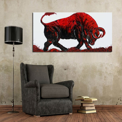 Big size 100% Handpainted Abstract Bullfighting Oil Painting