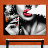 Burning Money Smoking Clouds Creative Art Modern