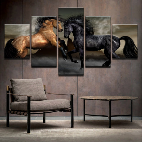 5 Panel Animal Horses Canvas Art