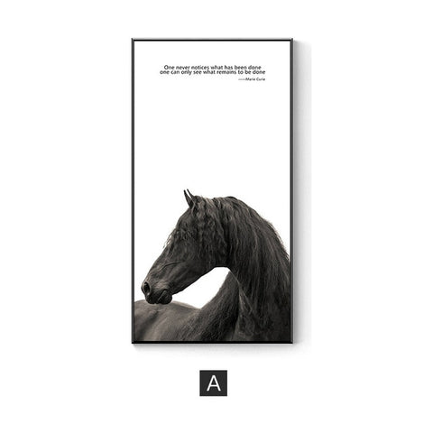 Nordic Style industrial Black and white horse posters