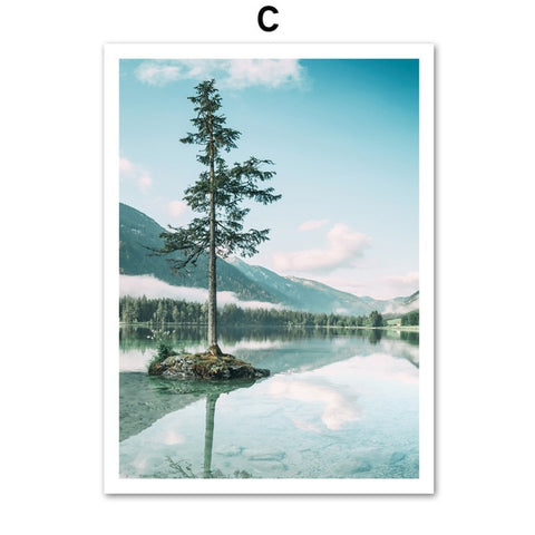Sea Leaf Mountain Tree Landscape Wall Art in Canvas