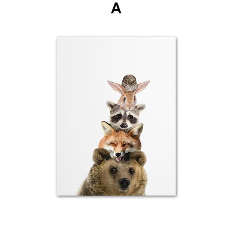 Nordic Cute Bear Fox Raccoon Zebra Giraffe Wall Art Canvas
