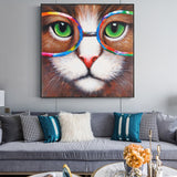 Cat printing in canvas Poster