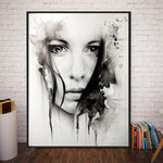 Black and White Watercolor Portrait Wall Art
