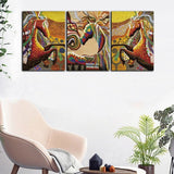 Colorful Horse Canvas Paintings 3Pcs/Lot