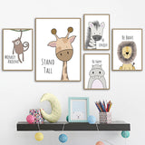 zebra Hippo Giraffe Lion Crocodile Nursery Wall Art in Canvas