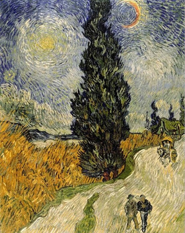 Famous Painter Van Gogh - Road with Cypress under Starry Sky
