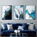 Nordic Abstract color spalsh blue golden in canvas