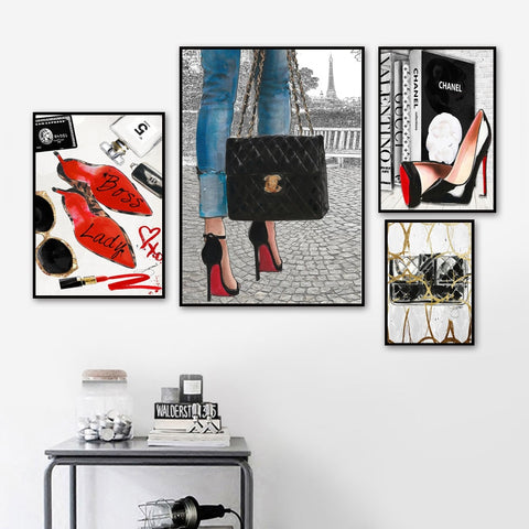 Paris High Heels Falling Stars Girl Nordic Posters